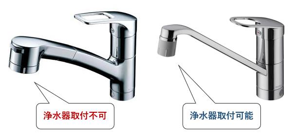 ハンドシャワー型シングルレバー混合栓は吐水口に浄水器を取り付けられない