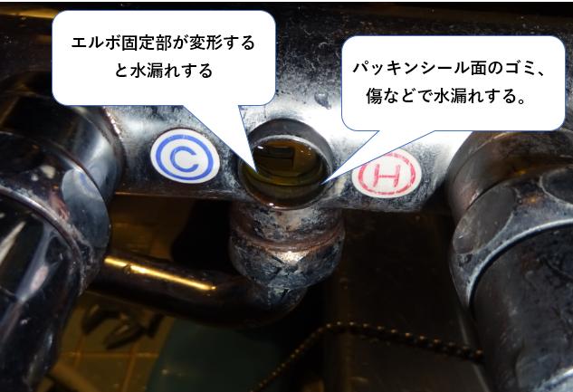 サーモスタット混合栓 シャワーホース部のエルボ部からの水漏れ 蛇口本体側の原因