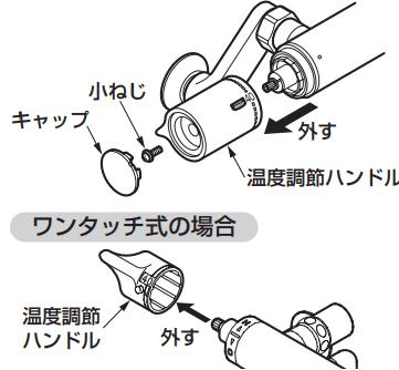 TOTOサーモスタット混合栓のハンドルの外し方