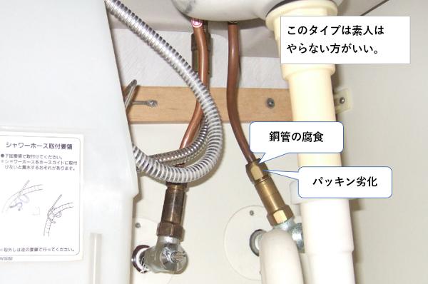シングルレバー混合栓 給水・給湯の銅管接続部から漏水原因