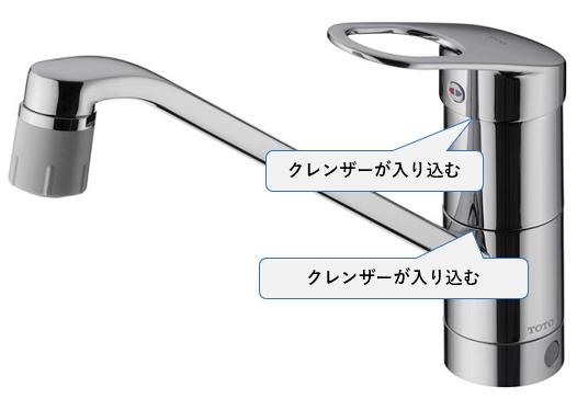 シングルレバー混合水栓は隙間にクレンザーが入り込むと固くなる