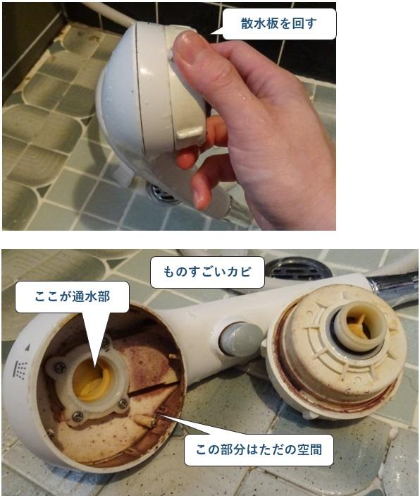 浴室の蛇口の清掃方法 シャワーヘッドの散水版を外す