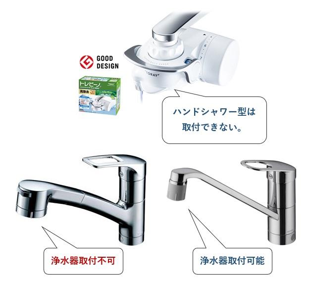 浄水器を吐水口に取り付けるタイプの水栓金具(蛇口)