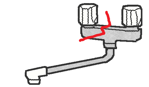 2ハンドル水栓の凍結破損