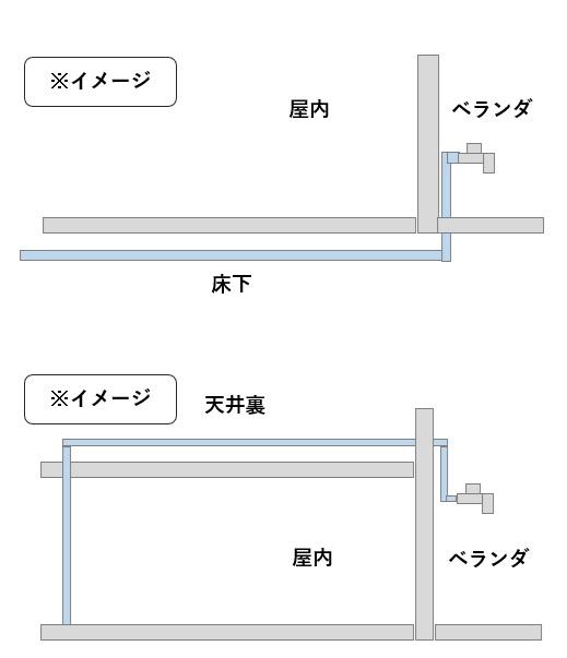 ベランダに蛇口を設置する方法(床下・天井裏)
