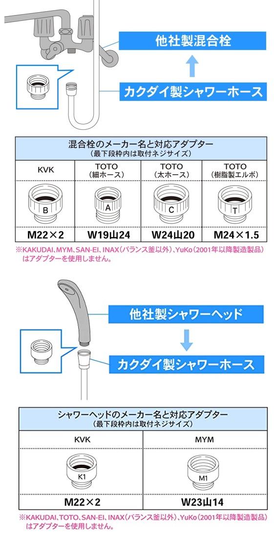 カクダイ(KAKUDAI) シャワーホースの変換アダプタ